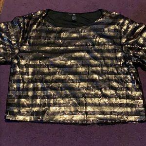 Women's H&M crop sequin blouse